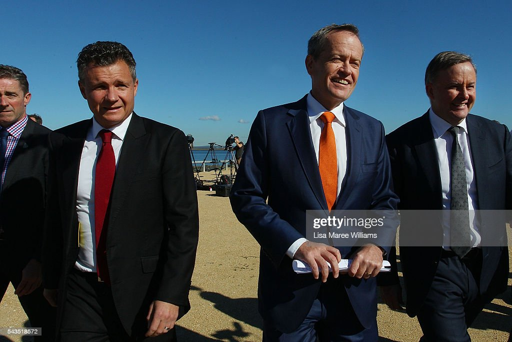 Leader of the Opposition, Australian Labor Party <a gi-track='captionPersonalityLinkClicked' href=/galleries/search?phrase=Bill+Shorten&family=editorial&specificpeople=606712 ng-click='$event.stopPropagation()'>Bill Shorten</a> (C) and Shadow Minister for Infrastructure and Transport Anthony Albanese (R) leave a media conference at Port Botany on June 29, 2016 in Sydney, Australia. <a gi-track='captionPersonalityLinkClicked' href=/galleries/search?phrase=Bill+Shorten&family=editorial&specificpeople=606712 ng-click='$event.stopPropagation()'>Bill Shorten</a> is campaigning heavily on Medicare, promising to make sure it isn't privatised if the Labor Party wins the Federal Election on July 2.