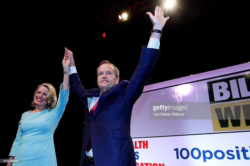 Leader of the Opposition, Australian Labor Party <a gi-track='captionPersonalityLinkClicked' href=/galleries/search?phrase=Bill+Shorten&family=editorial&specificpeople=606712 ng-click='$event.stopPropagation()'>Bill Shorten</a> and wife Chloe Shorten raise their arms in the air during the Queensland Labor Campaign Launch at the Brisbane Convention and Exhibition Centre on June 26, 2016 in Brisbane, Australia. <a gi-track='captionPersonalityLinkClicked' href=/galleries/search?phrase=Bill+Shorten&family=editorial&specificpeople=606712 ng-click='$event.stopPropagation()'>Bill Shorten</a> is campaigning heavily on Medicare, promising to make sure it isn't privatised if the Labor Party wins the Federal Election on July 2.