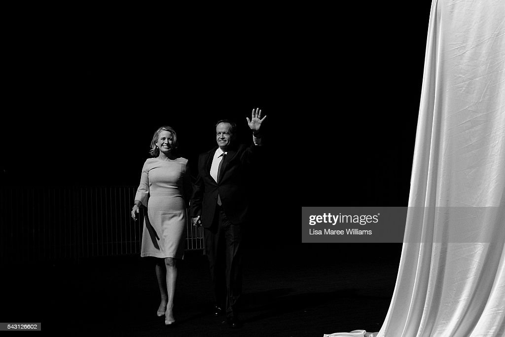 Leader of the Opposition, Australian Labor Party <a gi-track='captionPersonalityLinkClicked' href=/galleries/search?phrase=Bill+Shorten&family=editorial&specificpeople=606712 ng-click='$event.stopPropagation()'>Bill Shorten</a> and wife Chloe Shorten arrive at the Queensland Labor Campaign Launch at the Brisbane Convention and Exhibition Centre on June 26, 2016 in Brisbane, Australia. <a gi-track='captionPersonalityLinkClicked' href=/galleries/search?phrase=Bill+Shorten&family=editorial&specificpeople=606712 ng-click='$event.stopPropagation()'>Bill Shorten</a> is campaigning heavily on Medicare, promising to make sure it isn't privatised if the Labor Party wins the Federal Election on July 2.