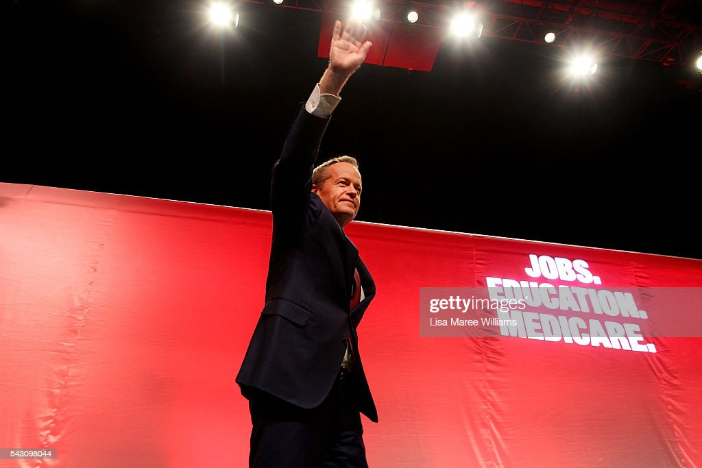 Leader of the Opposition, Australian Labor Party <a gi-track='captionPersonalityLinkClicked' href=/galleries/search?phrase=Bill+Shorten&family=editorial&specificpeople=606712 ng-click='$event.stopPropagation()'>Bill Shorten</a> arrives on stage during the Queensland Labor Campaign Launch at the Brisbane Convention and Exhibition Centre on June 26, 2016 in Brisbane, Australia. <a gi-track='captionPersonalityLinkClicked' href=/galleries/search?phrase=Bill+Shorten&family=editorial&specificpeople=606712 ng-click='$event.stopPropagation()'>Bill Shorten</a> is campaigning heavily on Medicare, promising to make sure it isn't privatised if the Labor Party wins the Federal Election on July 2.