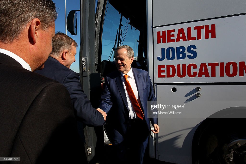 Leader of the Opposition, Australian Labor Party Bill Shorten is greeted by Anthony Albanese at Port Botany on June 29, 2016 in Sydney, Australia. Bill Shorten is campaigning heavily on Medicare, promising to make sure it isn't privatised if the Labor Party wins the Federal Election on July 2.