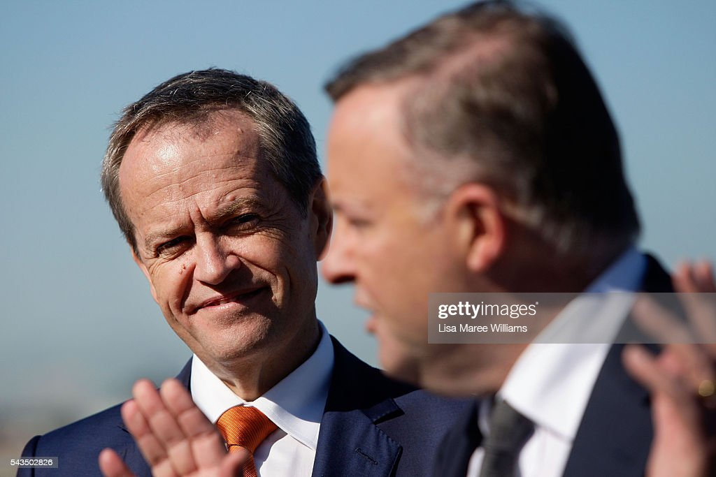 Leader of the Opposition, Australian Labor Party <a gi-track='captionPersonalityLinkClicked' href=/galleries/search?phrase=Bill+Shorten&family=editorial&specificpeople=606712 ng-click='$event.stopPropagation()'>Bill Shorten</a> looks on as Anthony Albanese speaks with the media at Port Botany on June 29, 2016 in Sydney, Australia. <a gi-track='captionPersonalityLinkClicked' href=/galleries/search?phrase=Bill+Shorten&family=editorial&specificpeople=606712 ng-click='$event.stopPropagation()'>Bill Shorten</a> is campaigning heavily on Medicare, promising to make sure it isn't privatised if the Labor Party wins the Federal Election on July 2.