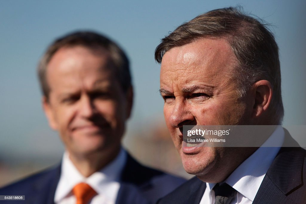 Leader of the Opposition, Australian Labor Party <a gi-track='captionPersonalityLinkClicked' href=/galleries/search?phrase=Bill+Shorten&family=editorial&specificpeople=606712 ng-click='$event.stopPropagation()'>Bill Shorten</a> looks on as Shadow Minister for Infrastructure and Transport Anthony Albanese speaks with the media at Port Botany on June 29, 2016 in Sydney, Australia. <a gi-track='captionPersonalityLinkClicked' href=/galleries/search?phrase=Bill+Shorten&family=editorial&specificpeople=606712 ng-click='$event.stopPropagation()'>Bill Shorten</a> is campaigning heavily on Medicare, promising to make sure it isn't privatised if the Labor Party wins the Federal Election on July 2.