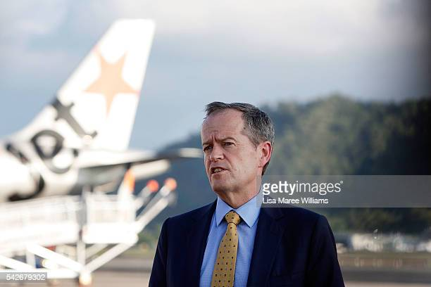 Leader of the Opposition Australian Labor Party Bill Shorten reacts to Brexit during a funding announcement at Cairns Airport on June 24 2016 in...