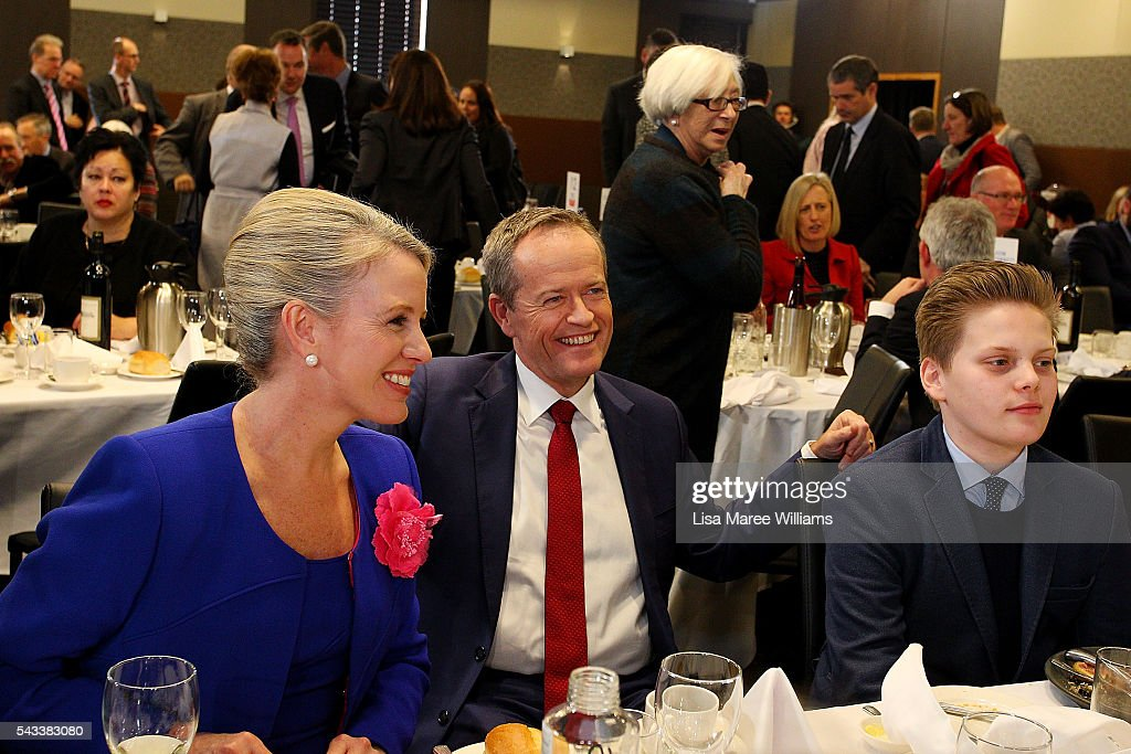 Leader of the Opposition, Australian Labor Party <a gi-track='captionPersonalityLinkClicked' href=/galleries/search?phrase=Bill+Shorten&family=editorial&specificpeople=606712 ng-click='$event.stopPropagation()'>Bill Shorten</a> sits with family Chloe Shorten and Rupert at the National Press Club on June 28, 2016 in Canberra, Australia. <a gi-track='captionPersonalityLinkClicked' href=/galleries/search?phrase=Bill+Shorten&family=editorial&specificpeople=606712 ng-click='$event.stopPropagation()'>Bill Shorten</a> used the opportunity to announce that the first bill he will put to Parliament if voted in on July 2 will be for marraige equality.