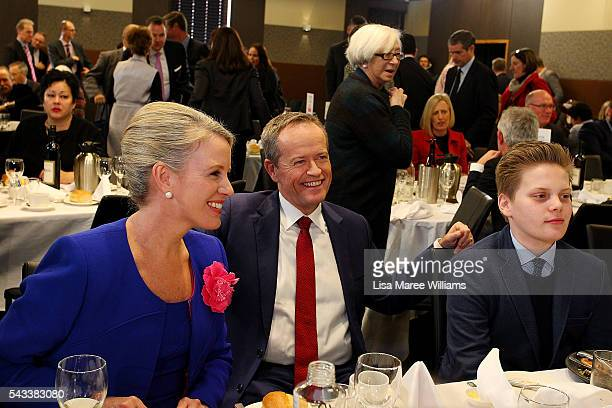 Leader of the Opposition Australian Labor Party Bill Shorten sits with family Chloe Shorten and Rupert at the National Press Club on June 28 2016 in...