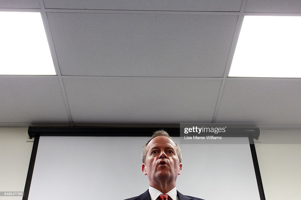 Leader of the Opposition, Australian Labor Party <a gi-track='captionPersonalityLinkClicked' href=/galleries/search?phrase=Bill+Shorten&family=editorial&specificpeople=606712 ng-click='$event.stopPropagation()'>Bill Shorten</a> speaks with the media during a visit to the childrens ward of Casey Hospital on June 27, 2016 in Melbourne, Australia. The latest Newspoll shows the Coalition has pulled ahead of the Labor Party, less than a week out from the July 2 election. On a two-party preferred basis, the Coalition now leads Labor 51-49, breaking the deadlock from the last poll.
