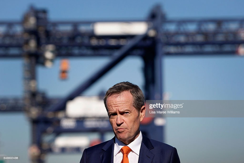 Leader of the Opposition, Australian Labor Party Bill Shorten speaks with the media at Port Botany on June 29, 2016 in Sydney, Australia. Bill Shorten is campaigning heavily on Medicare, promising to make sure it isn't privatised if the Labor Party wins the Federal Election on July 2.