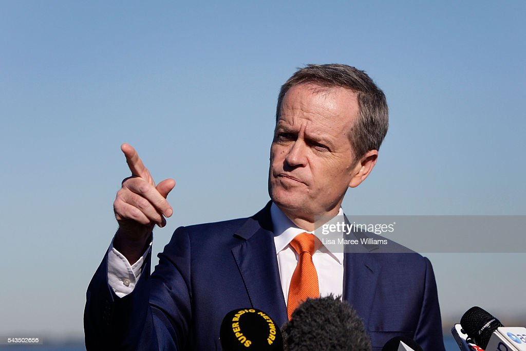 Leader of the Opposition, Australian Labor Party Bill Shorten speaks to the media at Port Botany on June 29, 2016 in Sydney, Australia. Bill Shorten is campaigning heavily on Medicare, promising to make sure it isn't privatised if the Labor Party wins the Federal Election on July 2.