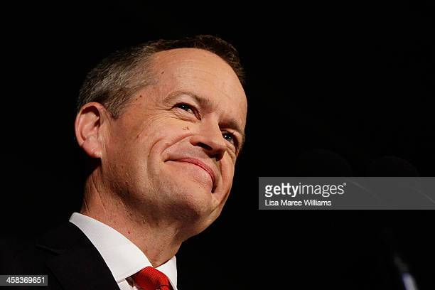 Leader of the Opposition Australian Labor Party Bill Shorten thanks Labor party supporters at Moonee Valley Racing Club on July 2 2016 in Melbourne...