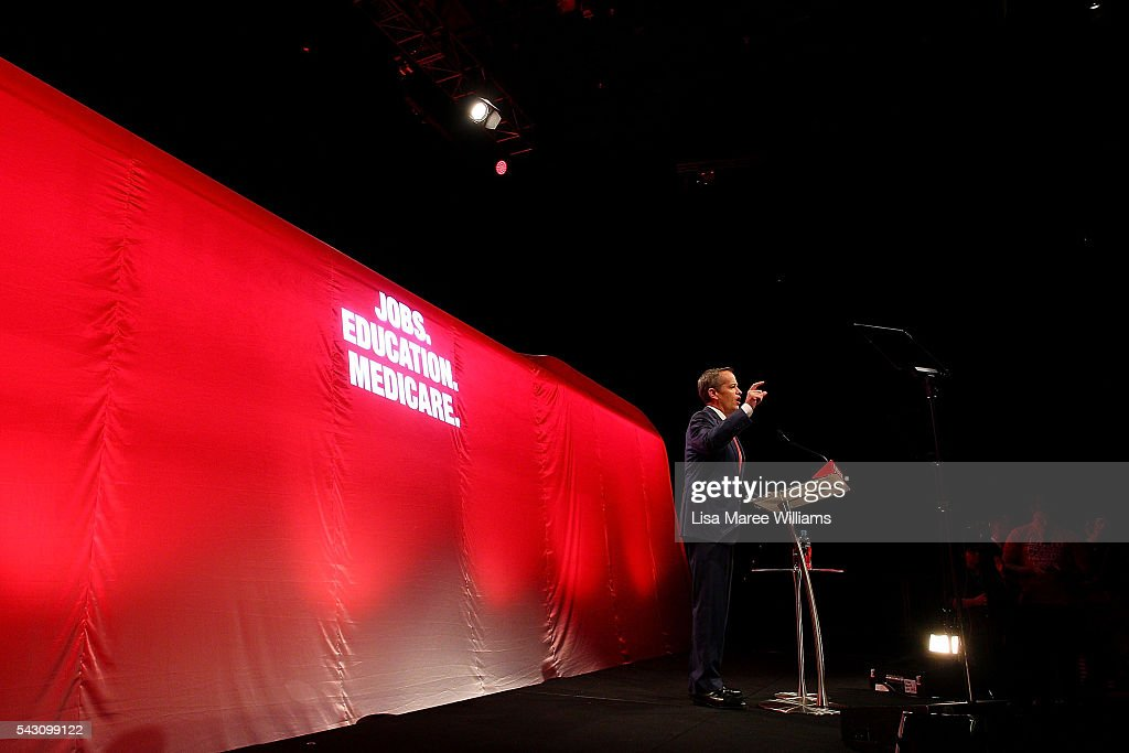 Leader of the Opposition, Australian Labor Party <a gi-track='captionPersonalityLinkClicked' href=/galleries/search?phrase=Bill+Shorten&family=editorial&specificpeople=606712 ng-click='$event.stopPropagation()'>Bill Shorten</a> addresses the audience during the Queensland Labor Campaign Launch at the Brisbane Convention and Exhibition Centre on June 26, 2016 in Brisbane, Australia. <a gi-track='captionPersonalityLinkClicked' href=/galleries/search?phrase=Bill+Shorten&family=editorial&specificpeople=606712 ng-click='$event.stopPropagation()'>Bill Shorten</a> is campaigning heavily on Medicare, promising to make sure it isn't privatised if the Labor Party wins the Federal Election on July 2.
