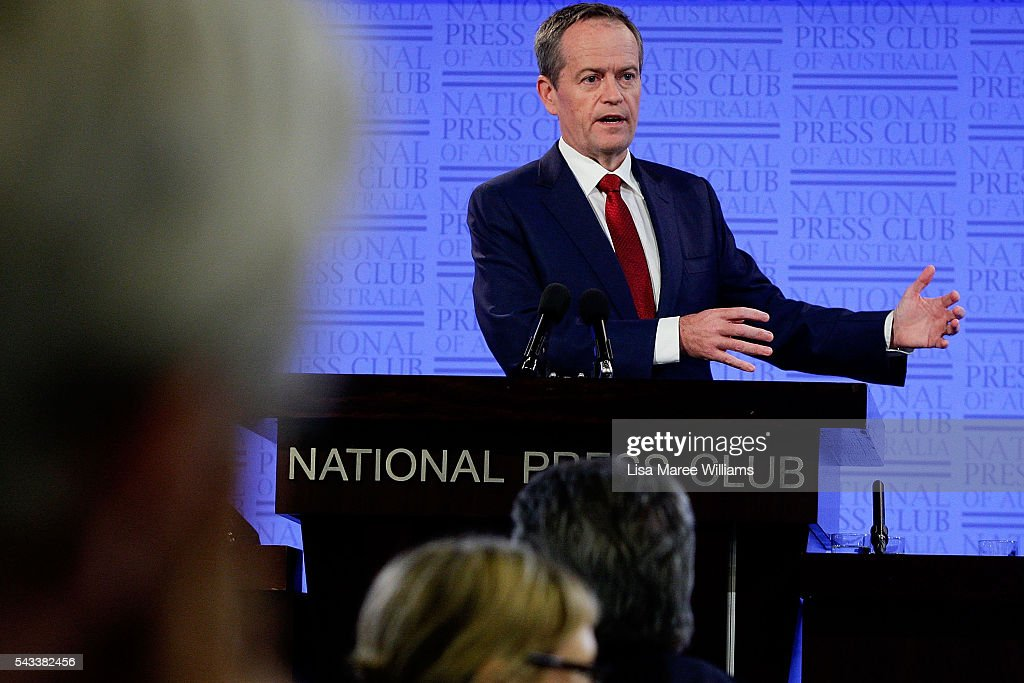 Leader of the Opposition, Australian Labor Party <a gi-track='captionPersonalityLinkClicked' href=/galleries/search?phrase=Bill+Shorten&family=editorial&specificpeople=606712 ng-click='$event.stopPropagation()'>Bill Shorten</a> addresses the National Press Club on June 28, 2016 in Canberra, Australia. <a gi-track='captionPersonalityLinkClicked' href=/galleries/search?phrase=Bill+Shorten&family=editorial&specificpeople=606712 ng-click='$event.stopPropagation()'>Bill Shorten</a> used the opportunity to announce that the first bill he will put to Parliament if voted in on July 2 will be for marraige equality.