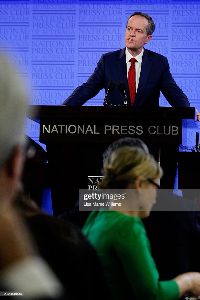 Leader of the Opposition, Australian Labor Party Bill Shorten addresses the National Press Club on June 28, 2016 in Canberra, Australia. Bill Shorten used the opportunity to announce that the first bill he will put to Parliament if voted in on July 2 will be for marraige equality.