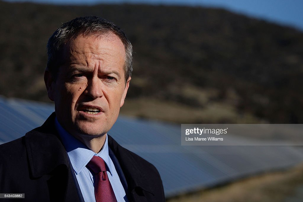 Leader of the Opposition, Australian Labor Party <a gi-track='captionPersonalityLinkClicked' href=/galleries/search?phrase=Bill+Shorten&family=editorial&specificpeople=606712 ng-click='$event.stopPropagation()'>Bill Shorten</a> tours the Royalla Solar Farm on June 28, 2016 in Canberra, Australia. Mr Shorten used the visit to outline Labor's policy plans for the renewable energy sector, address climate change and create jobs.