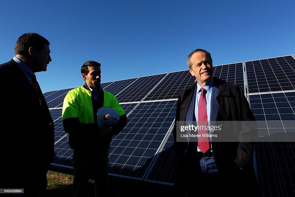 Leader of the Opposition, Australian Labor Party <a gi-track='captionPersonalityLinkClicked' href=/galleries/search?phrase=Bill+Shorten&family=editorial&specificpeople=606712 ng-click='$event.stopPropagation()'>Bill Shorten</a> (R) tours the Royalla Solar Farm on June 28, 2016 in Canberra, Australia. <a gi-track='captionPersonalityLinkClicked' href=/galleries/search?phrase=Bill+Shorten&family=editorial&specificpeople=606712 ng-click='$event.stopPropagation()'>Bill Shorten</a> used the visit to outline Labor's policy plans for the renewable energy sector, address climate change and the creation of jobs.