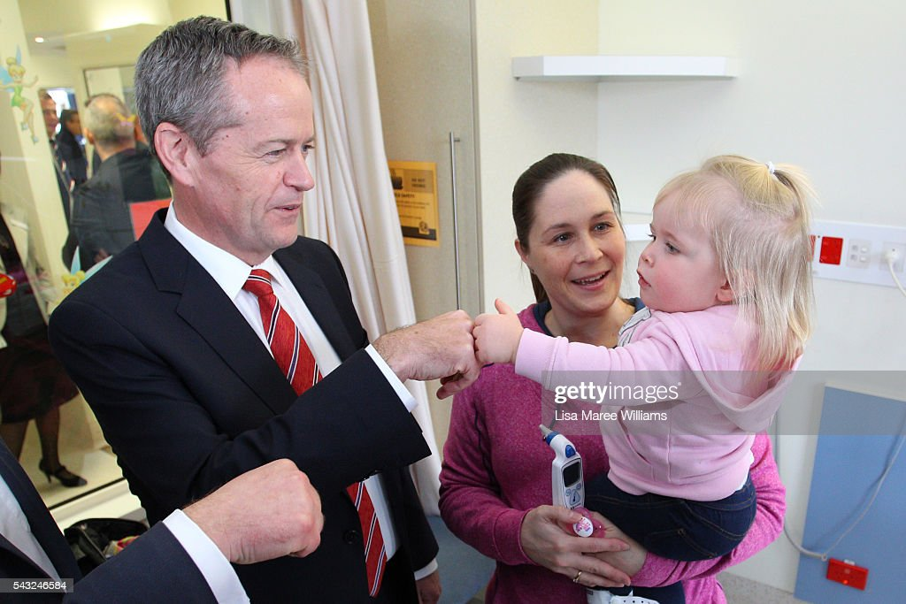 Leader of the Opposition, Australian Labor Party, <a gi-track='captionPersonalityLinkClicked' href=/galleries/search?phrase=Bill+Shorten&family=editorial&specificpeople=606712 ng-click='$event.stopPropagation()'>Bill Shorten</a> visits the childrens ward of Casey Hospital on June 27, 2016 in Melbourne. The latest Newspoll shows the Coalition has pulled ahead of the Labor Party, less than a week out from the July 2 election. On a two-party preferred basis, the Coalition now leads Labor 51-49, breaking the deadlock from the last poll.