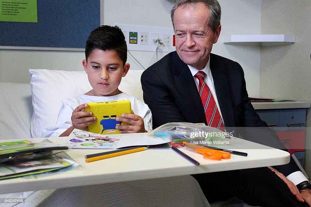 Leader of the Opposition, Australian Labor Party <a gi-track='captionPersonalityLinkClicked' href=/galleries/search?phrase=Bill+Shorten&family=editorial&specificpeople=606712 ng-click='$event.stopPropagation()'>Bill Shorten</a> visits the childrens ward of Casey Hospital on June 27, 2016 in Melbourne, Australia. The latest Newspoll shows the Coalition has pulled ahead of the Labor Party, less than a week out from the July 2 election. On a two-party preferred basis, the Coalition now leads Labor 51-49, breaking the deadlock from the last poll.