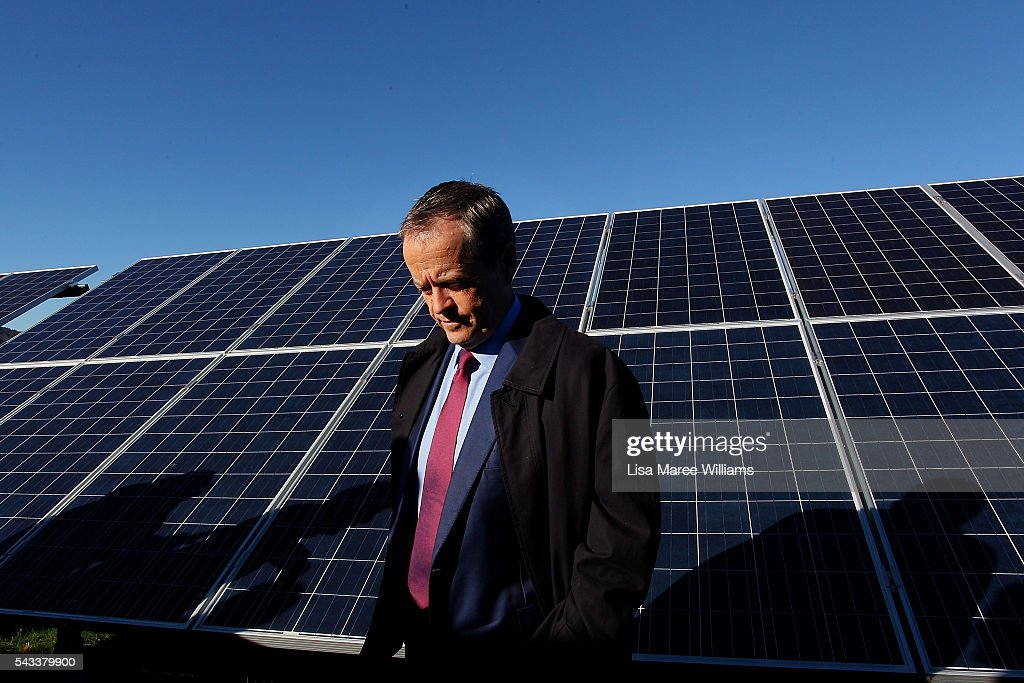 Leader of the Opposition, Australian Labor Party <a gi-track='captionPersonalityLinkClicked' href=/galleries/search?phrase=Bill+Shorten&family=editorial&specificpeople=606712 ng-click='$event.stopPropagation()'>Bill Shorten</a> visits the Royalla Solar Farm on June 28, 2016 in Canberra, Australia. Mr Shorten used the visit to outline Labor's policy plans for the renewable energy sector, address climate change and create jobs.