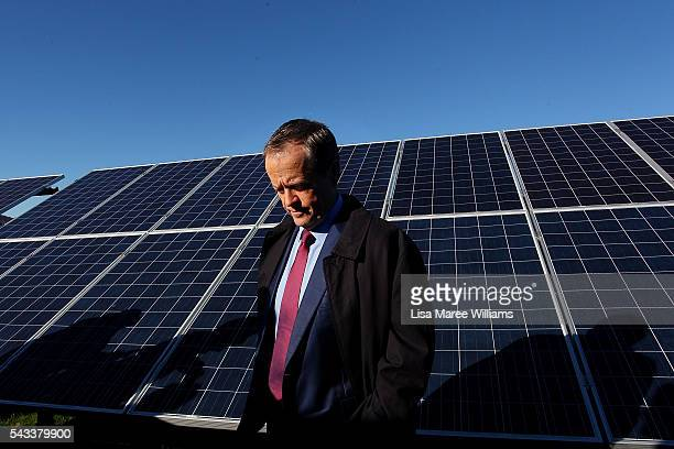 Leader of the Opposition Australian Labor Party Bill Shorten visits the Royalla Solar Farm on June 28 2016 in Canberra Australia Mr Shorten used the...