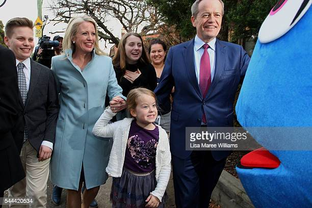 Leader of the Opposition Australian Labor Party Bill Shorten wife Chloe Shorten and children Rupert Clementine and Georgette arrive at Moonee Ponds...