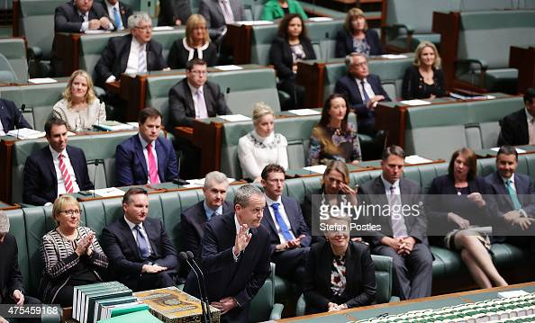 Leader of the Opposition Bill Shorten acknowledges the public gallery after introducing the Marriage Equality Bill to the House of Representatives at...
