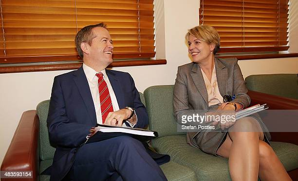 Leader of the Opposition Bill Shorten and Deputy Leader of the Opposition Tanya Plibersek at a Labor Party Caucus meeting at Parliament House on...