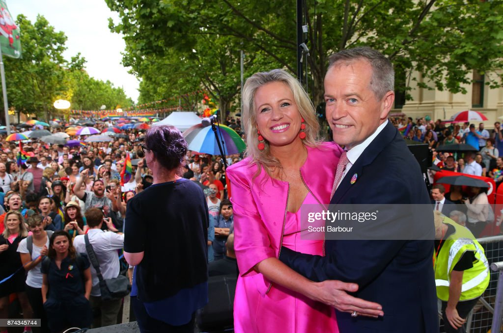 Leader of the Opposition Bill Shorten and his wife Chloe Shorten pose on stage after speaking to supporters of the 'Yes' vote for marriage equality at Melbourne's Result Street Party on November 15, 2017 in Melbourne, Australia. Australians have voted for marriage laws to be changed to allow same-sex marriage, with the Yes vote claiming 61.6% to to 38.4% for No vote. Despite the Yes victory, the outcome of Australian Marriage Law Postal Survey is not binding, and the process to change current laws will move to the Australian Parliament in Canberra.