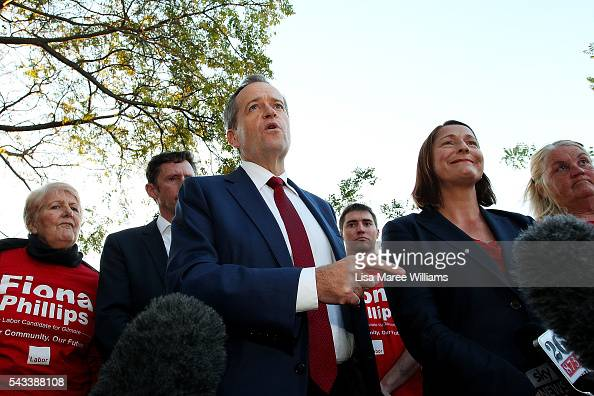 Leader of the Opposition Bill Shorten and local candidate Fiona Phillips speak with locals during a street walk on June 28 2016 in Nowra AustraliaThe...
