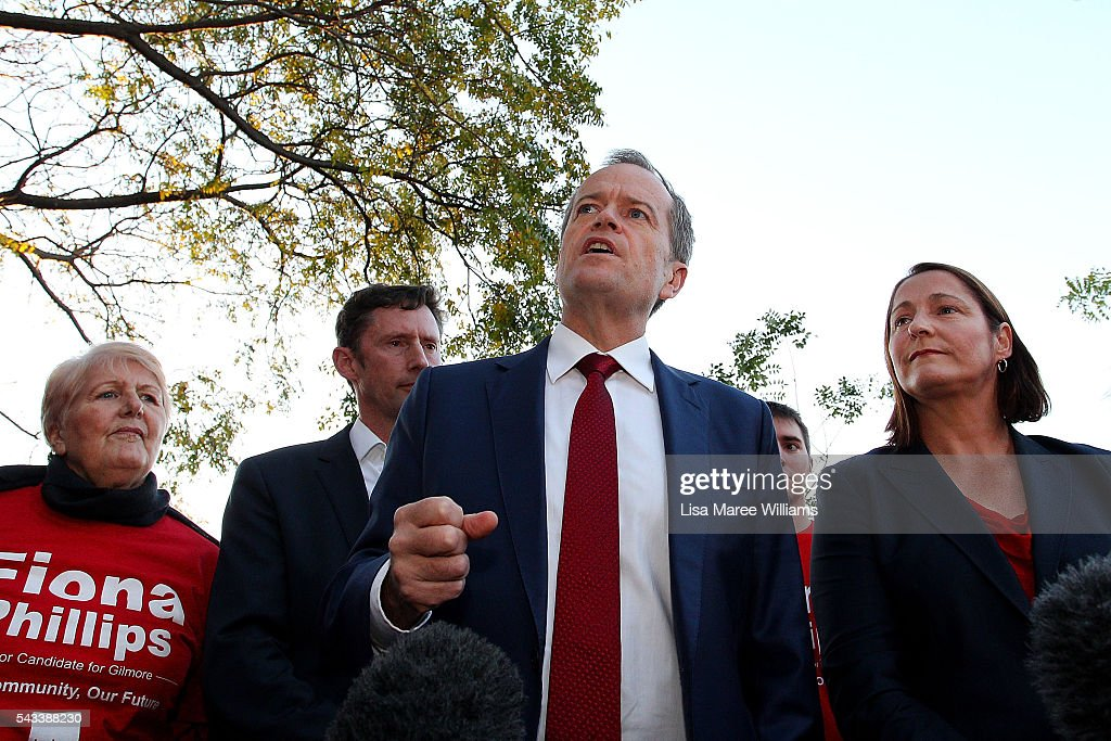 Leader of the Opposition, <a gi-track='captionPersonalityLinkClicked' href=/galleries/search?phrase=Bill+Shorten&family=editorial&specificpeople=606712 ng-click='$event.stopPropagation()'>Bill Shorten</a> and local candidate <a gi-track='captionPersonalityLinkClicked' href=/galleries/search?phrase=Fiona+Phillips&family=editorial&specificpeople=867643 ng-click='$event.stopPropagation()'>Fiona Phillips</a> speak with locals during a street walk on June 28, 2016 in Nowra, Australia.The latest Newspoll shows the Coalition has pulled ahead of the Labor Party, less than a week out from the July 2 election. On a two-party preferred basis, the Coalition now leads Labor 51-49, breaking the deadlock from the last poll.