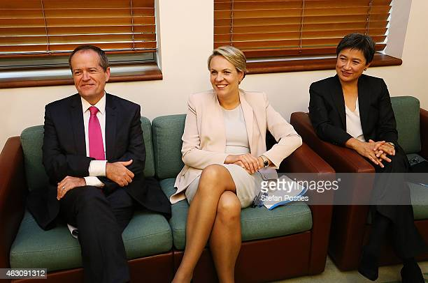 Leader of the Opposition Bill Shorten Deputy Leader of the Opposition Tanya Plibersek and Shadow Minister for Trade and Investment Senator Penny Wong...