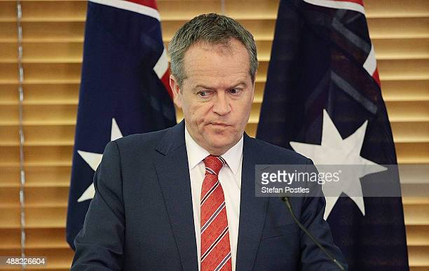 Leader of the Opposition Bill Shorten during a Labor Party caucus meeting at Parliament House on September 15 2015 in Canberra Australia Malcolm...