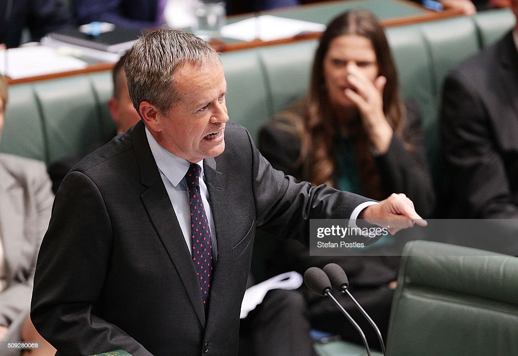 Leader of the Opposition <a gi-track='captionPersonalityLinkClicked' href=/galleries/search?phrase=Bill+Shorten&family=editorial&specificpeople=606712 ng-click='$event.stopPropagation()'>Bill Shorten</a> during House of Representatives question time at Parliament House on February 10, 2016 in Canberra, Australia.