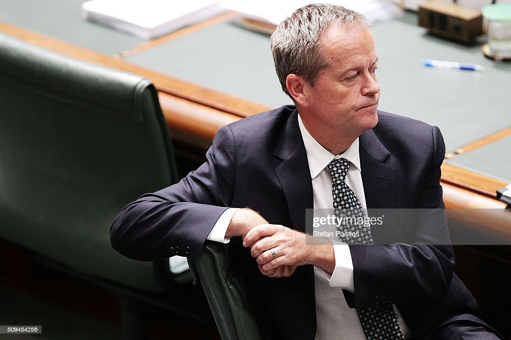 Leader of the Opposition <a gi-track='captionPersonalityLinkClicked' href=/galleries/search?phrase=Bill+Shorten&family=editorial&specificpeople=606712 ng-click='$event.stopPropagation()'>Bill Shorten</a> during House of Representatives question time at Parliament House on February 11, 2016 in Canberra, Australia. Nationals Leader and Deputy Prime Minister Warren Truss and Trade Minister Andrew Robb will retire at the next election.