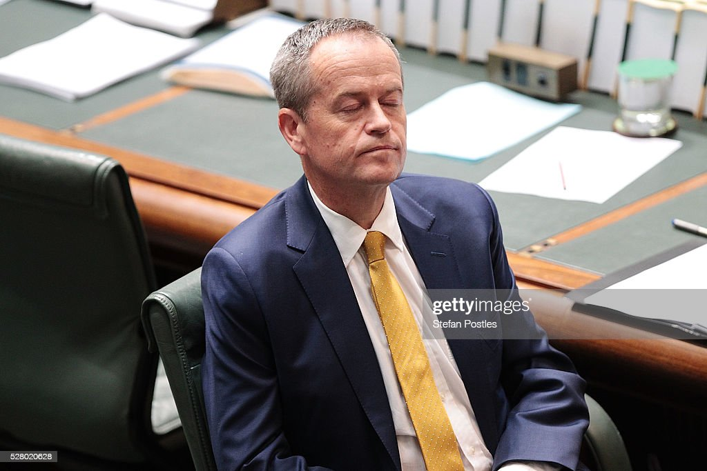 Leader of the Opposition <a gi-track='captionPersonalityLinkClicked' href=/galleries/search?phrase=Bill+Shorten&family=editorial&specificpeople=606712 ng-click='$event.stopPropagation()'>Bill Shorten</a> during House of Representatives question time at Parliament House on May 4, 2016 in Canberra, Australia. The Turnbull Goverment's first budget has delivered tax cuts for small and medium businesses, income tax cuts people earning over $80,000 a year,new measures to help young Australians into jobs and cutbacks to superannuation concessions for the wealthy.