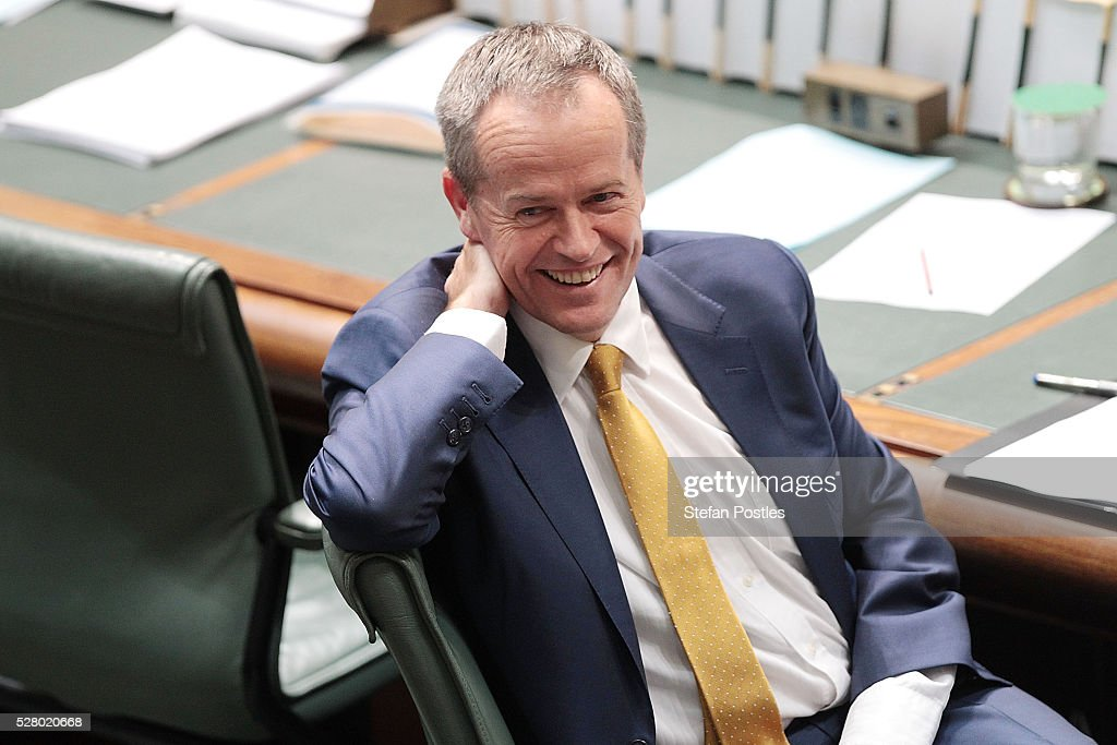 Leader of the Opposition Bill Shorten during House of Representatives question time at Parliament House on May 4, 2016 in Canberra, Australia. The Turnbull Goverment's first budget has delivered tax cuts for small and medium businesses, income tax cuts people earning over $80,000 a year,new measures to help young Australians into jobs and cutbacks to superannuation concessions for the wealthy.