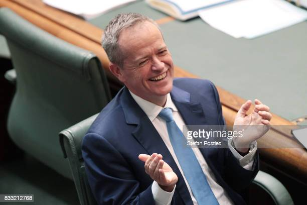 Leader of the Opposition Bill Shorten during House of Representatives question time at Parliament House on August 17 2017 in Canberra Australia...