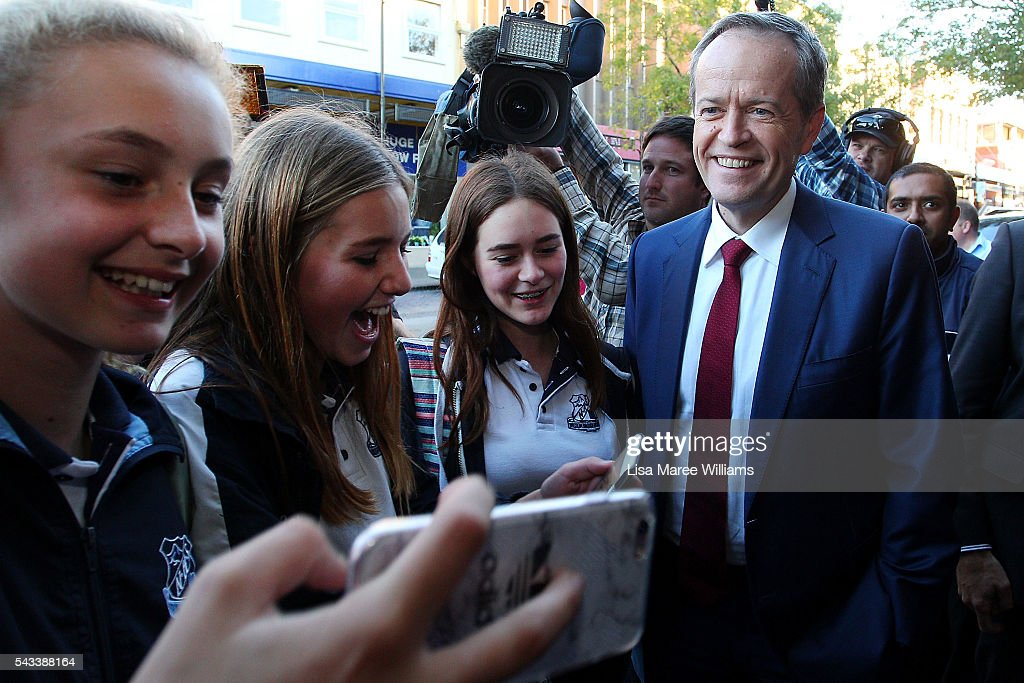 Leader of the Opposition, <a gi-track='captionPersonalityLinkClicked' href=/galleries/search?phrase=Bill+Shorten&family=editorial&specificpeople=606712 ng-click='$event.stopPropagation()'>Bill Shorten</a> meets locals during a street walk on June 28, 2016 in Nowra, Australia.The latest Newspoll shows the Coalition has pulled ahead of the Labor Party, less than a week out from the July 2 election. On a two-party preferred basis, the Coalition now leads Labor 51-49, breaking the deadlock from the last poll.