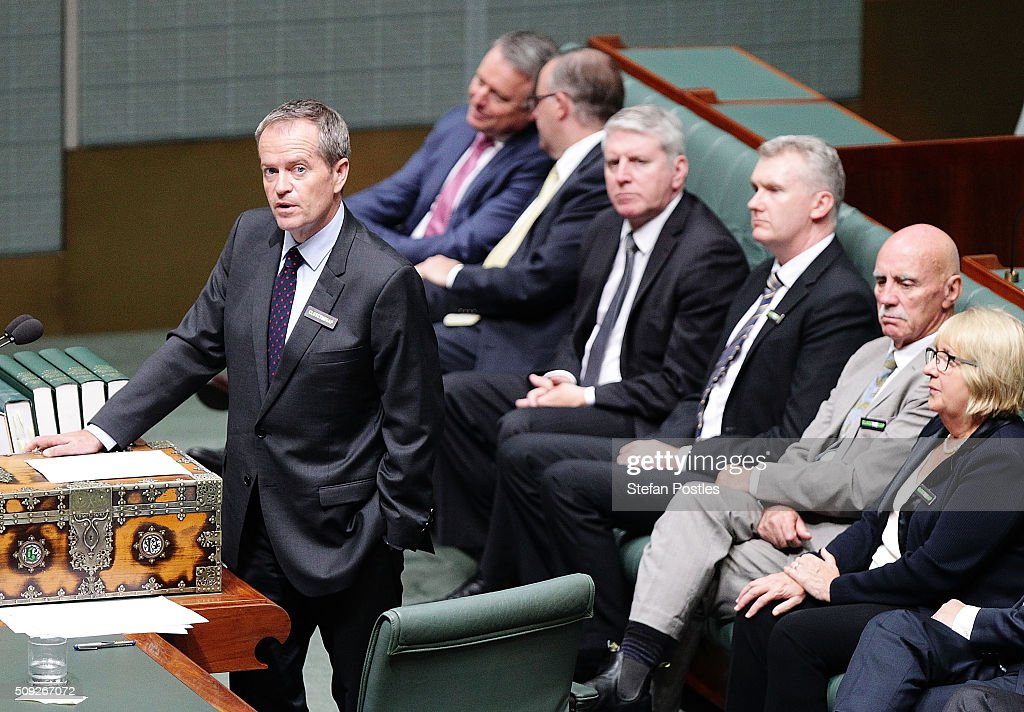 Leader of the Opposition <a gi-track='captionPersonalityLinkClicked' href=/galleries/search?phrase=Bill+Shorten&family=editorial&specificpeople=606712 ng-click='$event.stopPropagation()'>Bill Shorten</a> responds to Prime Minister Malcolm Turnbull's Closing the Gap report card in the House of Representatives at Parliament House on February 10, 2016 in Canberra, Australia.