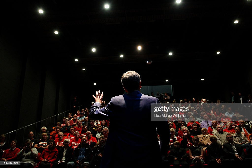 Leader of the Opposition, <a gi-track='captionPersonalityLinkClicked' href=/galleries/search?phrase=Bill+Shorten&family=editorial&specificpeople=606712 ng-click='$event.stopPropagation()'>Bill Shorten</a> speaks to local residents during a town hall meeting on June 28, 2016 in Nowra, Australia.The latest Newspoll shows the Coalition has pulled ahead of the Labor Party, less than a week out from the July 2 election. On a two-party preferred basis, the Coalition now leads Labor 51-49, breaking the deadlock from the last poll.