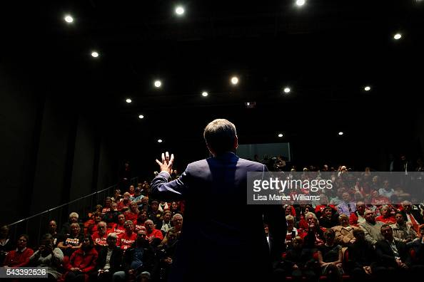 Leader of the Opposition Bill Shorten speaks to local residents during a town hall meeting on June 28 2016 in Nowra AustraliaThe latest Newspoll...