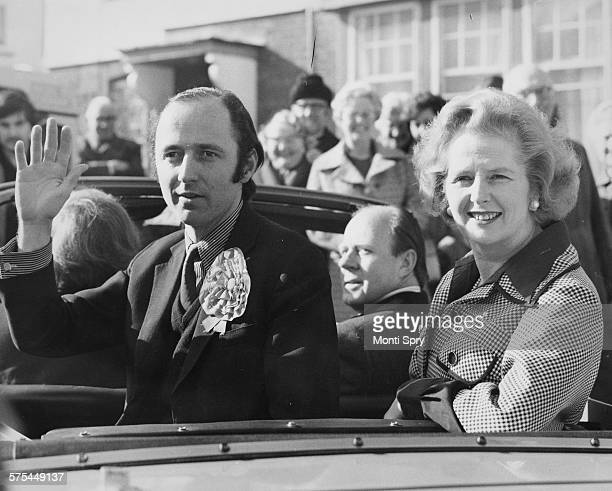 Leader of the Opposition Margaret Thatcher and Parliamentary Candidate Nigel Forman sitting in the back of a car for a walk about during the...
