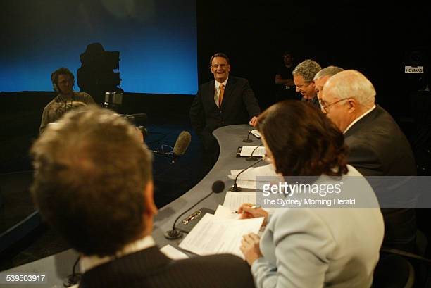 Leader of the Opposition Mark Latham chats to members of the press prior to the commencement of the Election 2004 Debate with Prime Minister John...