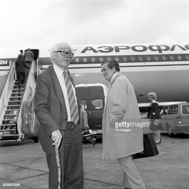 Leader of the Opposition Michael Foot together with contender for the deputy leadership of the Labour Party Denis Healey on the tarmac at London's...