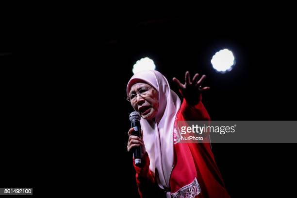 Leader of the Opposition party Datuk Seri Dr Wan Azizah Wan Ismail delivers a speech during the AntiKleptocracy rally at Padang Timur Petaling Jaya...