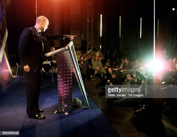 Leader of the opposition William Hague at a press conference for the Conservative party in the Great Hall in Great St Georges Street in London after...