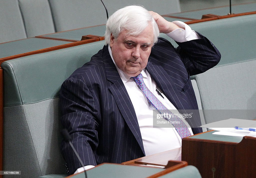 Leader of the Palmer United Party <a gi-track='captionPersonalityLinkClicked' href=/galleries/search?phrase=Clive+Palmer&family=editorial&specificpeople=5874044 ng-click='$event.stopPropagation()'>Clive Palmer</a> during Question Time at Parliament House on July 15, 2014 in Canberra, Australia. A vote on the Government's Carbon Tax Repeal Legislation has been delayed as debate in the Senate continues.