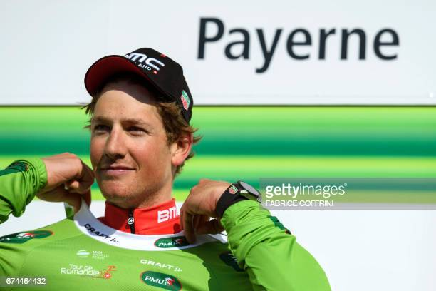 Leader of the point classment Swiss Stefan Kueng of team BMC stands during the podium ceremony of the third stage of Tour de Romandie UCI protour...
