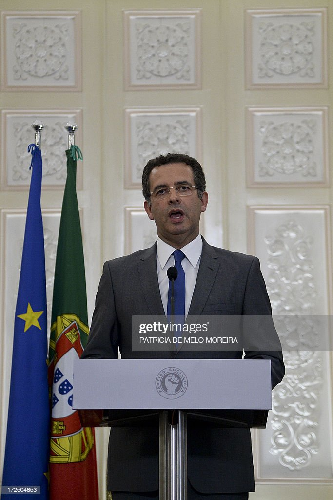 Leader of the Portuguese Socialist opposition party Antonio Jose Seguro addresses the nation from the Socialist party headquarters at Largo do Rato...
