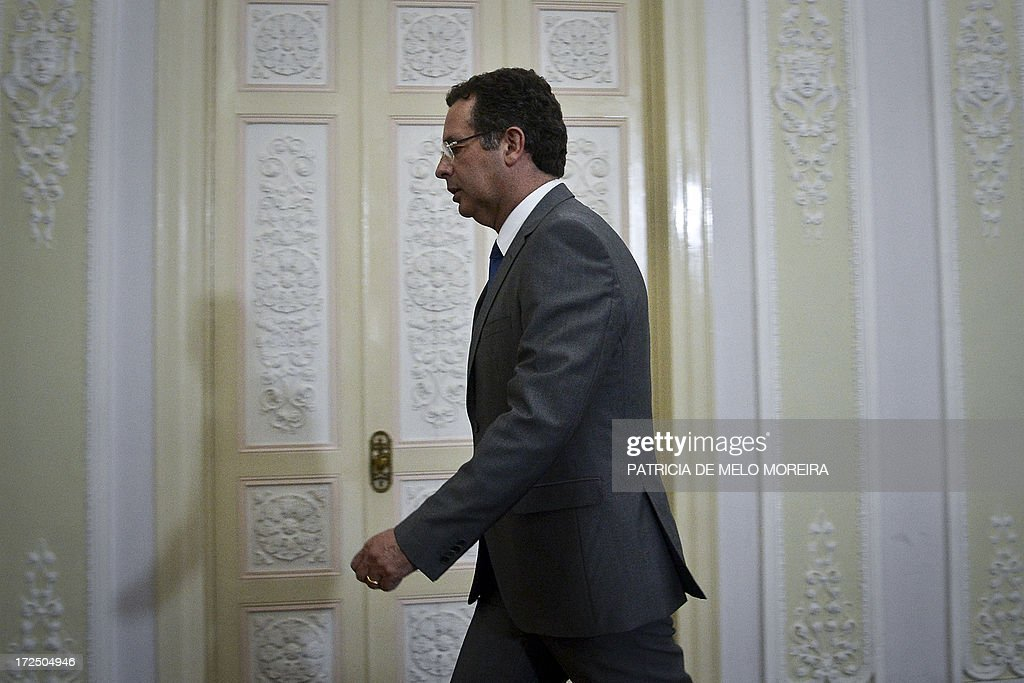 Leader of the Portuguese Socialist opposition party Antonio Jose Seguro leaves after addresses the nation from the Socialist party headquarters at...