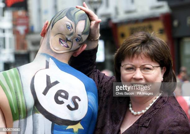 Leader of the Progressive Democrats and Deputy Irish Prime Minister Mary Harney campaigning in Dublin's Grafton Street for a Yes Vote in Thursday's...